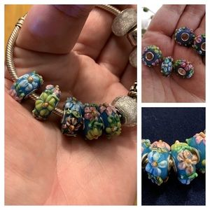 5 hand painted beads for charm bracelet